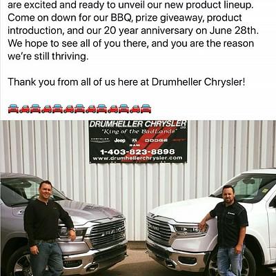 Drumheller Chrysler Celebrating 20 Years!