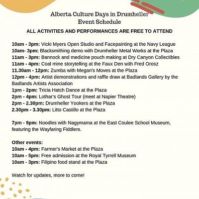 Alberta Culture Days in Drumheller Sept 28th!